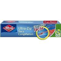 Albal 15 Sacs Congélation Moyen - Double Fermeture Ultra-Zip - Hermétique - 27 x 24 cm
