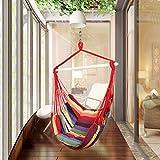 Holifine Hängesessel Aufhängung Hängestuhl mit 2 Kissen und Spreizstab aus Holz, bis 100 kg Belastbar - Rote Streifen