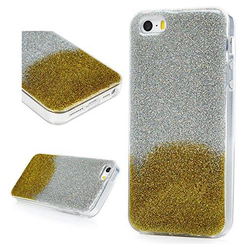 iPhone 5S Cover Silicone e Bling Glitter Brillanti, iPhone 5 SE Custodia Morbida TPU Flessibile Gomma QuickSand Stella - MAXFE.CO Case Sottile Cassa Protettiva per iPhone 5/5S/SE - Bling Rosa Oro