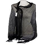 Emila Stola cerimonia coprispalle elegante con frange a rete foulard scialle grande Nero L190xH70