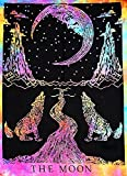 #2: Multi color Tie Dye Crying Wolf of The Moon Tarot Tapestry wall hanging Dorm Decor psychedelic Wall Tapestries Bohemian Bedding Indian Cotton Bedspread Picnic Bedsheet Blanket Wall Art