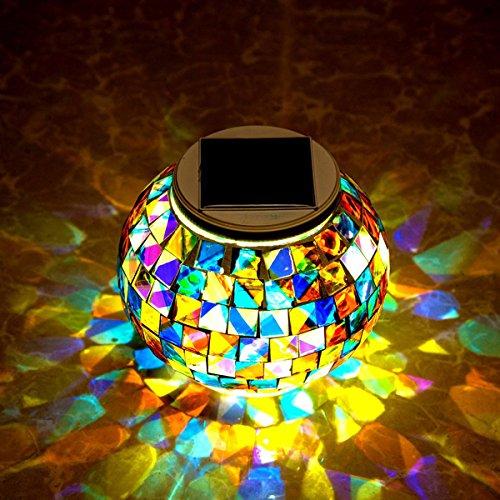 Bg Außenbereich Licht (Bureze Gartenlampe mit Solarbetrieb, Mosaik-Glaskugel, bunt, LED-Licht, für den Außenbereich, wasserdicht, Dekoration)
