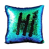 """Janecrafts Two-color Decorative Mermaid Pillow Reversible Sequins Pillow Cases Cushion Cover 16 X 16""""(40x40cm) Black and Green"""