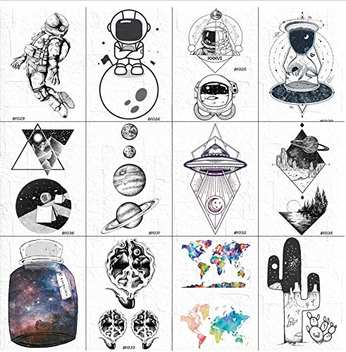 ruofengpuzi 3D Geometric Star Trek Temporäre Männer Arm Space Männer Planet Black Tattoo Gefälschte Sterne Raumschiff Tattoo (Trek Kostüme Weibliche Star)