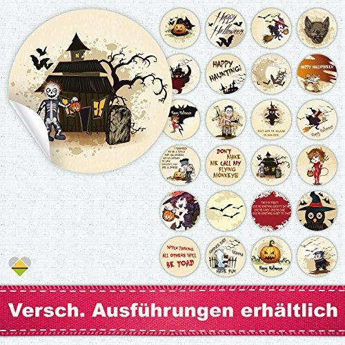 24 versch. Aufkleber / Etiketten / Sticker | Halloween | Rund | Ø 40 mm | Creepy Biscuit | F00002-01 | CuteLove & - Monster Uni Kostüm