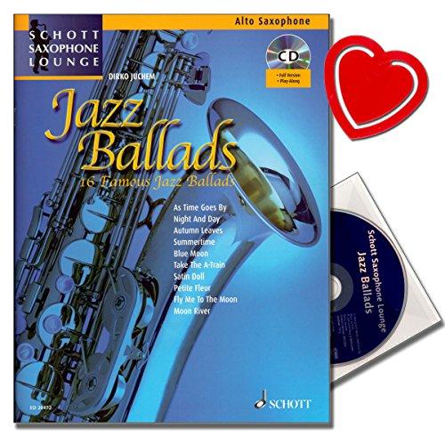 Jazz Ballads - 16 berühmte Jazz-Balladen von Dirko Juchem mit CD, Klaviersatz - Reihe: Schott Saxophone Lounge - AltSaxophon Noten mit herzförmiger Notenklammer