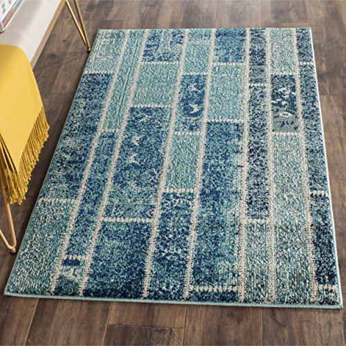 Safavieh Gewaschener Teppich zeitgenössisches Muster, MNC216, Gewebter Polypropylen, Blau / Mehrfarbig, 90 x 150 cm -
