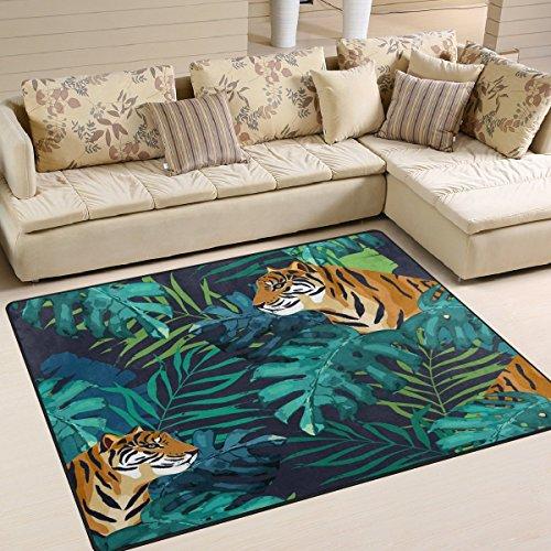 (Domoko Exotic Palm Baum Blätter Tiger Watercolor Bereich Teppich Teppiche Matte für Wohnzimmer Schlafzimmer, Textil, Mehrfarbig, 160cm x 122cm(5.3 x 4 feet))