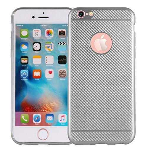 "MOONCASE iPhone 6 Plus/iPhone 6s Plus Coque, Fibre de Carbone Flexible Armure Defender Housse Cover Slim Anti-éraflure Antichoc Protection Cases pour iPhone 6 Plus/6s Plus 5.5"" Argent Argent"