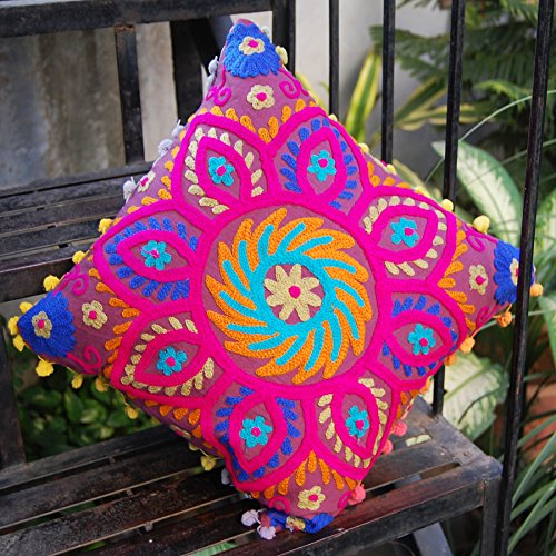 Colourful Decorative Suzani Embroidered Work Pillow Cushion Cover Size 16x16