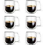 Vicloon Double Paroi Verre à Café,Tasses en Verre Borosilicate,pour Thé,Café,Lattes,Cappuccino,Espresso,Bière,250 ml (normal-