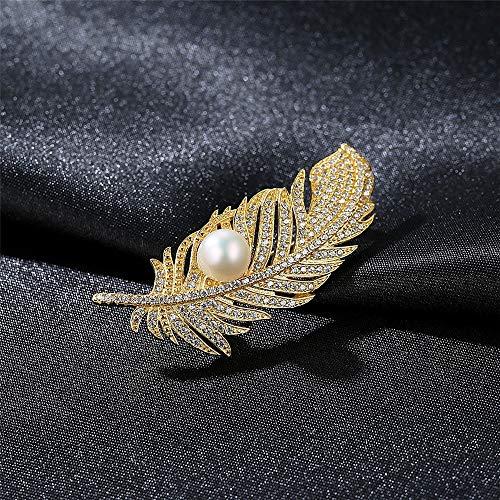 Peggy Gu schmuck Frauen Mädchen Vintage Style Blattform Strass Perle Brosche Pins Kleidung Dekoration Schmuck kostüm - Accessoire (Farbe : Weiß)