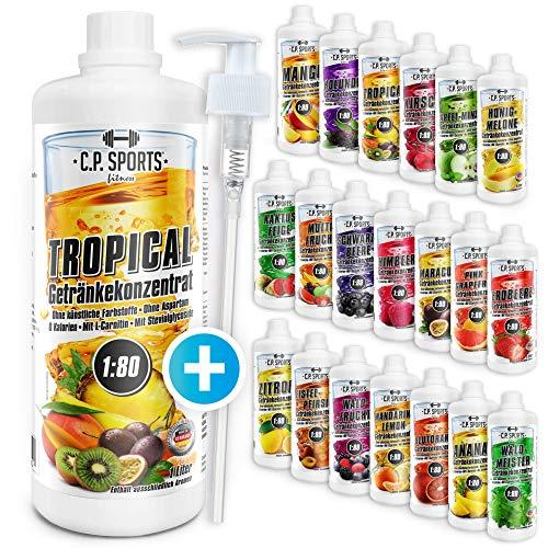 C.P. Sports Mineraldrink, Getränk 1:80 + Dosierpumpe, Getränkekonzentrat 1000ml, 2, 5, 10 Liter, Mineral Sirup, 20 Sorten, isotonischer, Vital Drink zuckerfrei (Zitrone, 1 Liter) -