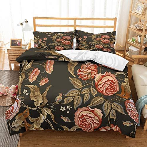 MOUMOUHOME Jungen/Mädchen Mikrofaser Bettwäsche Set 3-teilig für Wohnheim, Rot/Braun/Schwarz Pflanzen Floral Bettbezug-Set mit Reißverschluss Kein Tröster -