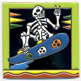 Deko baldosas 002Esqueleto–Surfer a wave Board, monopatín–15x 15cm, hecha de México como posavasos para Surfer, Gótico, Gag, halloween, Dia de los Muertos.