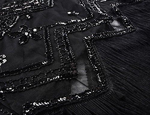 Kayamiya Damen Flapper Kleider 1920er Jahre V-Ausschnitt Inspiriert Paillette Fransen Großes Gatsby Kleid Schwarz