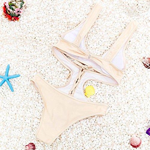 WOCACHI Damen Bikinis Hohler Verband Bikini Badeanzug schnüren sich oben Badebekleidung Hollow Bandage Bikini Swimsuit Lace Up Swimwear Khaki