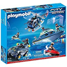 Playmobil 9043 Police Vehicle Super Set - Helicopter, Boat, Jet Ski, Car