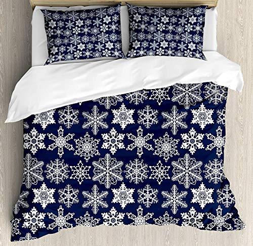 Schneeflocke Queen-Size-Bettbezug-Set, häkeln Stil Weiß Motive des Winters auf dunklem Hintergrund Traditionelle Designs, dekorative 3-teiliges Bettwäscheset mit 2 Kissen Shams, Marineblau Weiß -