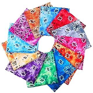 URATOT 12 Pack Cotton Tie Dye Bandana Paisley Bandanas Cowboy Handkerchiefs for Men and Women