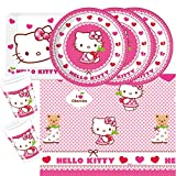Procos 37- teiliges Party-Set Hello Kitty Teller Becher Servietten Tischdecke für 8 Kinder