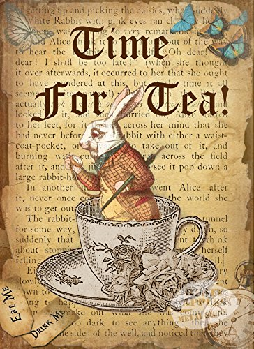 Zeit für Tee: Vintage-Stil Zitat Metall Schild (Zeichen Von Alice Im Wunderland)