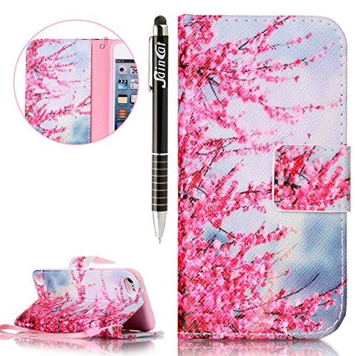 Custodia iPod Touch 5/6,SainCat Custodia in pelle Protettiva Flip Cover per iPod touch 5/6,Anti-Scratch Protettiva Caso Elegante Creativa Dipinto Pattern Design PU Leather Flip Ultra Slim Sottile Morb fiore Plum