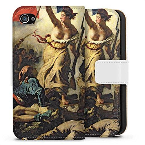 Apple iPhone X Silikon Hülle Case Schutzhülle Delacroix Frankfreich Revolution Sideflip Tasche weiß