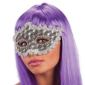 Carnival Toys - Máscara con encaje y estrases en bolsa con encabezado, color plateado (744)