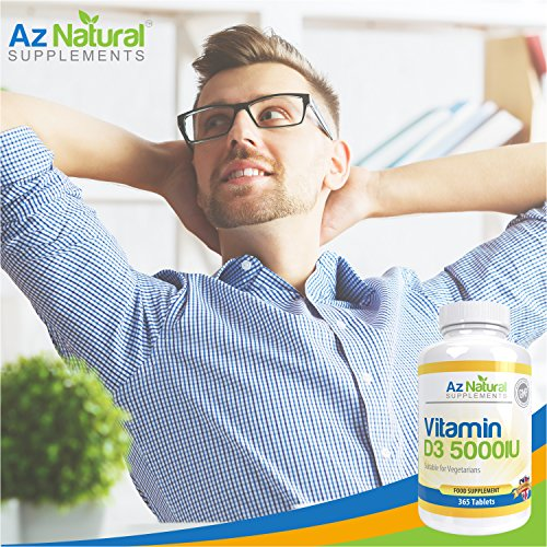 Az Natural Vitamin D3 High Strength IU, Optimum Immune System Booster, Supports Bone Strength, Small Easy to Swallow Vegetarian Tablets – GELATIN FREE Vit d Supplements for Adults, Full Years Supply to Boost Energy and Total Body Wellness.