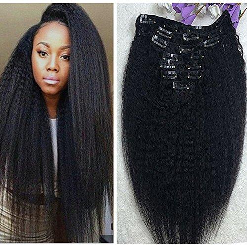 Full Shine 16 Zoll Virgin Brazlian Hair Yaki Klipp im Menschenhaar Schwarz Farben Jungfrau Haar Klipp in Den Haar Verlängerungen für Schwarze Frauen 7Pcs 100Gramm