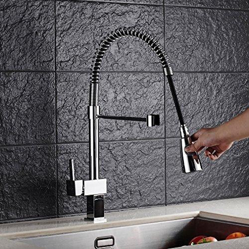 Auralum® Ausziehbare Küchenarmatur Spültischarmatur Einhandmischer Geschirrbrause Wasserhahn Mischbatterie Küche Spülbecken Spültisch Armatur - 2