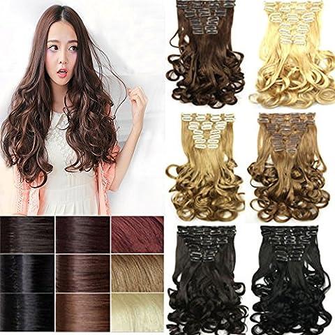 nutbio (TM)–migliore qualità sintetico 17/43cm 170g 7pcs + 1pc/set clip in Hair Extensions qualsiasi colori Stlye Wave Capelli Pezzo natural black