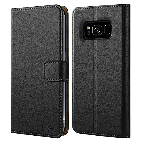 Galaxy S8 Hülle, HOOMIL Handyhülle Samsung Galaxy S8 Tasche Leder Flip Case Brieftasche Handy Schutzhülle für Samsung S8 Cover - Schwarz (H3059) (Handy Cover Aus Leder)