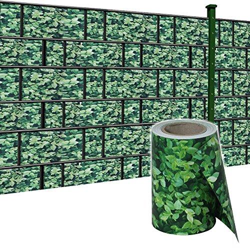 HENGMEI 35m x19cm Sichtschutzfolie PVC Sichtschutzstreifen mit Zaunfolie Befestigungsclipse Windschutz Stabmattenzaun Gartenzaun Blickdicht für Gartenzaun, Balkon (Buchsbaum, 35m x 19 cm)