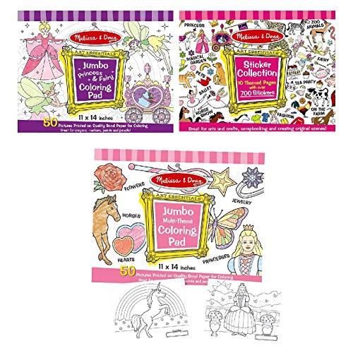 Melissa & Doug Girls Sticker Pad / Coloring Books Bundle by Melissa & Doug TOY (English Manual)