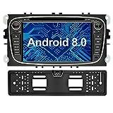 Ohok 7 Zoll Bildschirm 2 Din Autoradio Android 8.0.0 Oreo Octa Core Radio mit Navi Moniceiver DVD GPS Navigation Unterstützt Bluetooth DAB+ für Ford Focus Schwarz mit Rückfahrkamera
