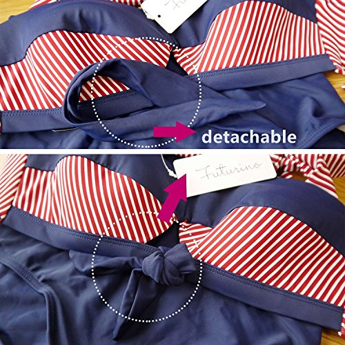 Futurino Damen Frühjahr/Sommer Vintage Retro Nautical Sailor Bügel Push Up Bikini Sets Bademode (EU42, Marine) - 5