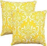 TreeWool Dekorativer Kissenbezug (50 x 50 cm, Gelb) Damask Design 100% Baumwolle (2er Pack)