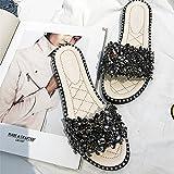 CWJDTXD Pantofole estive Pantofole con strass Diamanti estivi da donna Girocolli spessi e leggeri Scarpe pigri monospaci Indossano un tipo di sandali, 36, bianco