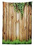 Yeuss Rustikal Home Decor Tischdecke Fresh Spring Grass Pflanze mit ¨¹ber Altes Holz Zaun Garten Bereich Foto, Esszimmer K¨¹Che Tisch, rechteckig, gr¨¹n Braun 60