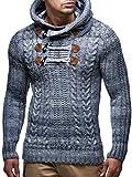 LEIF NELSON Herren-Strickpullover |Strick-Pulli mit Kapuze | Moderner Wollpullover Sweatshirt Langarm Kleidung Männer