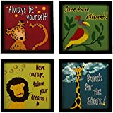 INDIANARA 4 Piece Set Of Framed Wall Hanging Kids Motivational Study Room (1034) Decor Art Prints 8.7 Inch X 8.7 Inch Without Glass