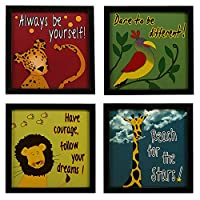 Decorate the walls of your kids room, with these framed inspiring posters/paintings. This product comes without glass and can be wall mounted with the help of hooks screwed at the back. An appropriate present for special occasions such as birthday an...
