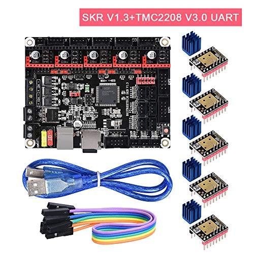 PoPprint SKR V1.3 32-Bit-ARM-Controller-Board mit Open Source-Firmware Marlin2.0 und Smoothieware Verwenden Sie die Technologie der Goldabscheidungstechnologie für 3D-Drucker. (SKR V1.3+TMC2208 UART) Ω-serie