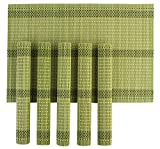 Hokipo Wooden Dinner Table Kitchen Placemats Set, 6 Piece, Green