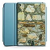 Apple iPad Mini 4 Smart Case hellblau Hülle Tasche mit Ständer Smart Cover Mittelalterliches Gemaeuer Steinwand Steine Look