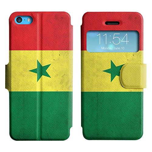 Graphic4You Vintage Uralt Flagge Von Elfenbeinküste Ivorisch Design Leder Schützende Display-Klappe Brieftasche Hülle Case Tasche Schutzhülle für Apple iPhone 5C Senegal Senegalesisch