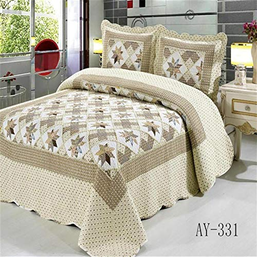 F-jiujin, Queen-Size Patchwork Gesteppte Tagesdecken Baumwolle Quilts Set Moderne Plaid leichte Sommer Tagesdecken Couvre Lit (Color : Color 8, Size : 3 Piece 230x250cm)