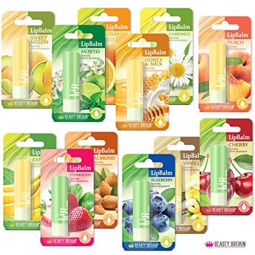 Ensemble De 12 Baumes À Lèvres De Luxe 12 Saveurs Différentes Fruité Parfumé Réparation Unisexe Protect + 1 Sac Cosmétique